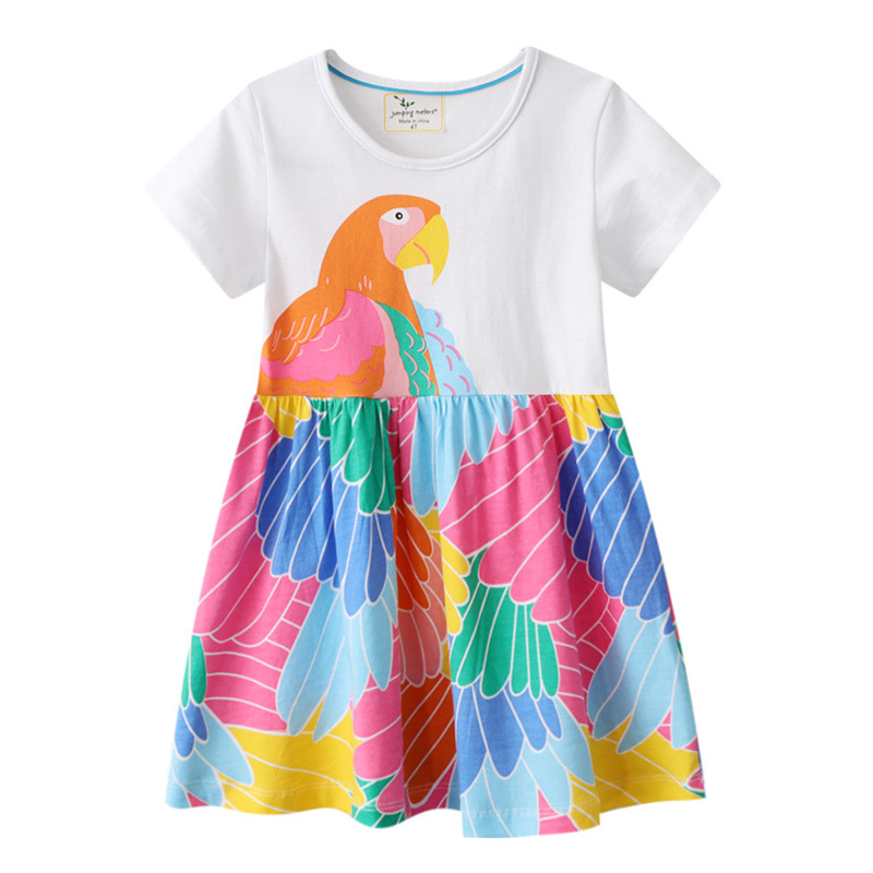 Toddler Girls Parrot Wings Short Sleeve Casual Dresses