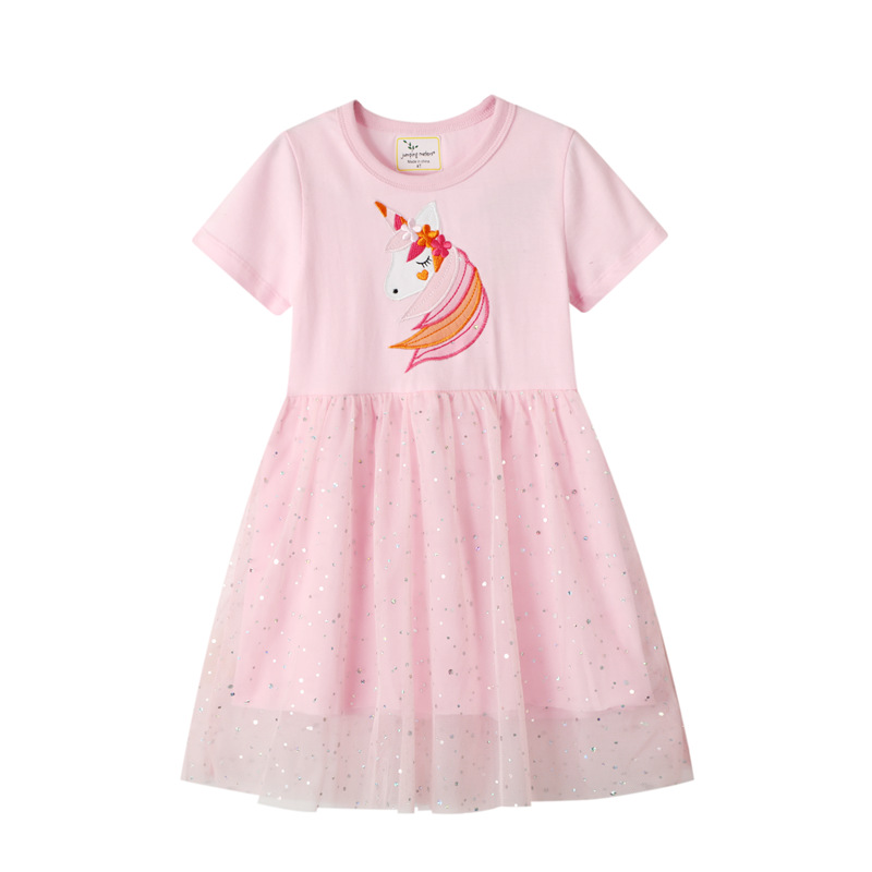 Toddler Girls Embroidery Unicorn Sequins Pink Tutu Dresses