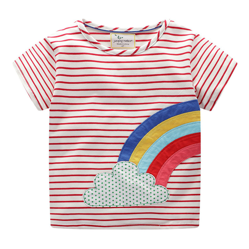 Girl Print Cute Rainbow Clouds Red and White Cotton T-shirt
