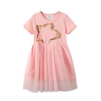 Toddler Girls Sequines Star Short Sleeves Pink Tutu Dresses