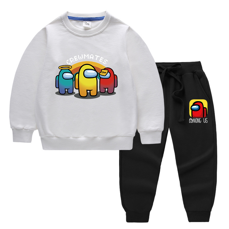 Toddlers Kids Boy Print Among Us Crewmate Cotton Sweatshirts Tops and Jogger Pant Two Pieces