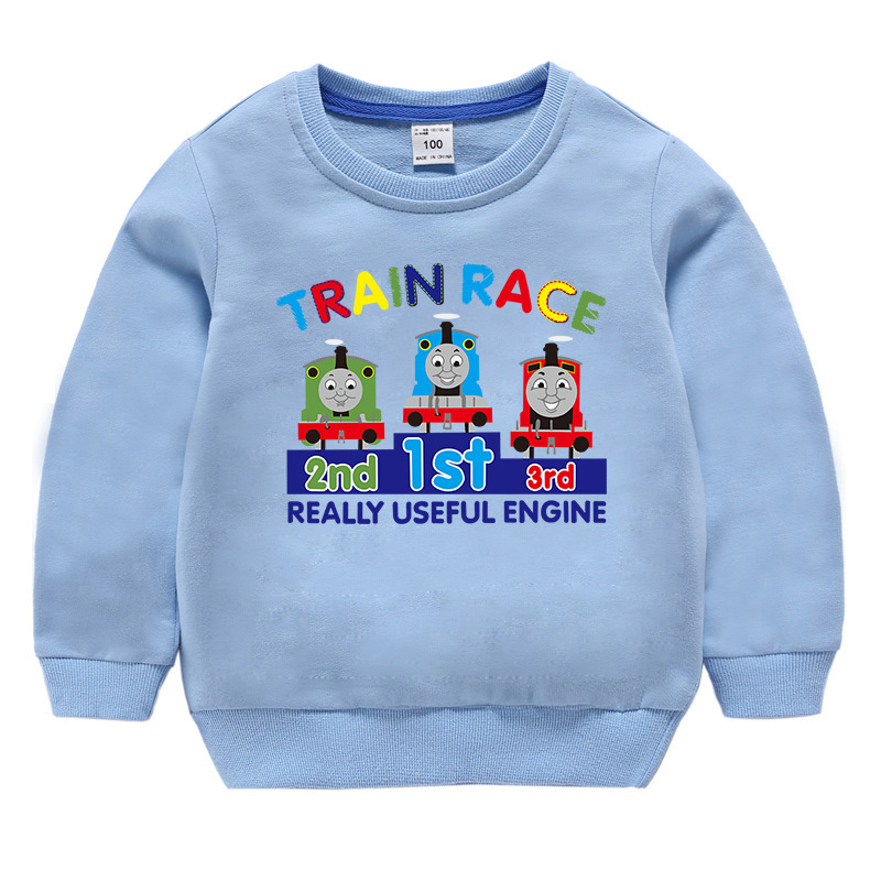 Toddler Kids Boy Cartoon Thomas Train Race Pullover Cotton Sweatshirt Tops
