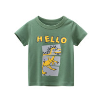 Toddle Kids Boys Print Dinosaur Letter Green Cotton T-shirt