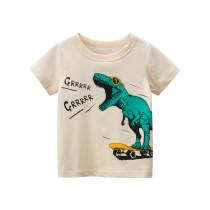 Toddle Kids Boys Print Green Dinosaur Sliding Plate Cotton T-shirt