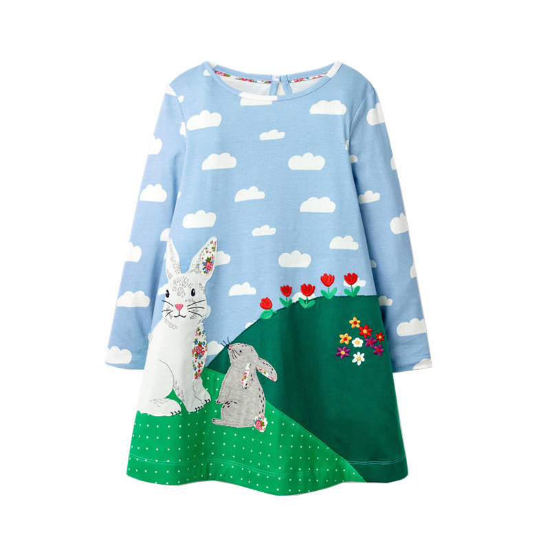 Toddler Girls Prints Rabbits Clouds Flowers Long Sleeve Dresses