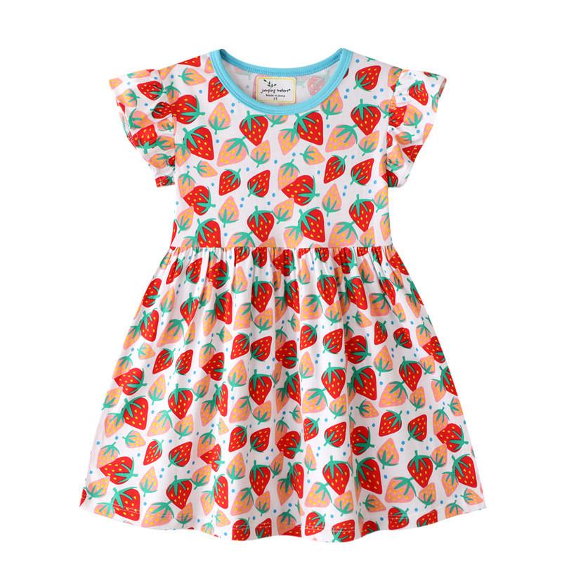 Toddler Girls Print Pink Strawberries Short Sleeves Cotton A-line Dress