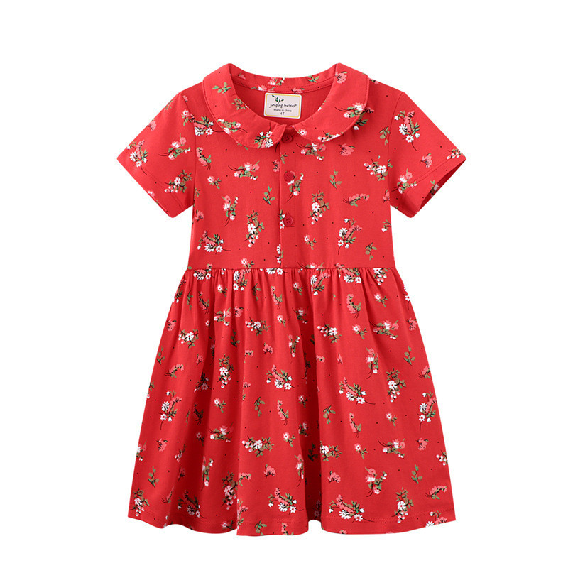 Toddler Girls Prints Red Floral Doll Collar Short Sleeves Dresses
