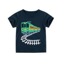 Toddle Kids Boys Print GreenTrain Navy Cotton T-shirt