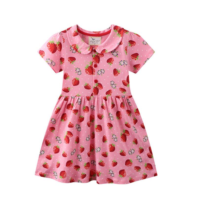 Toddler Girls Prints Strawberries Doll Collar Skirt Short Sleeves Dresses