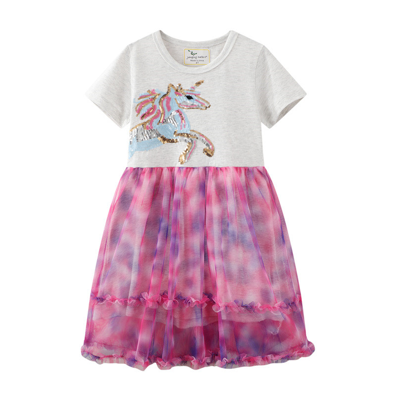 Toddler Girls Embroidery Unicorn Rainbow Sequines Short Sleeve Tutu Dresses