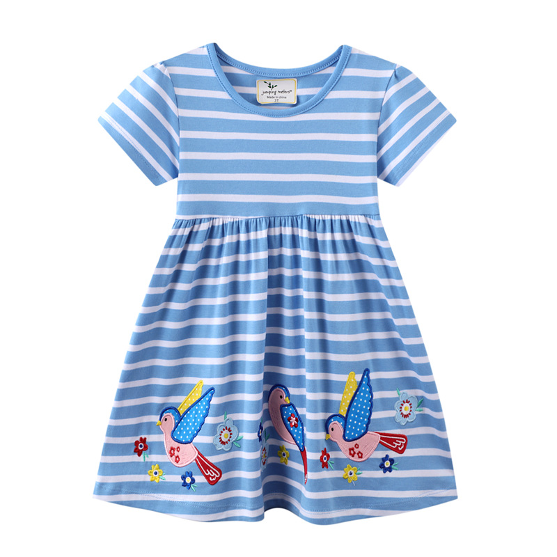 Toddler Girls Embroidery Birds Flowers Blue and White Stripes Short Sleeves Casual Dresses