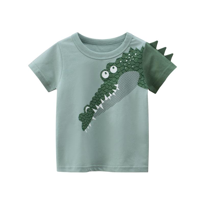 Toddle Kids Boys Print 3D Crocodile Green Cotton T-shirt