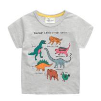 Toddle Kids Boys Print Dinosaurs Animal Gray Cotton T-shirt