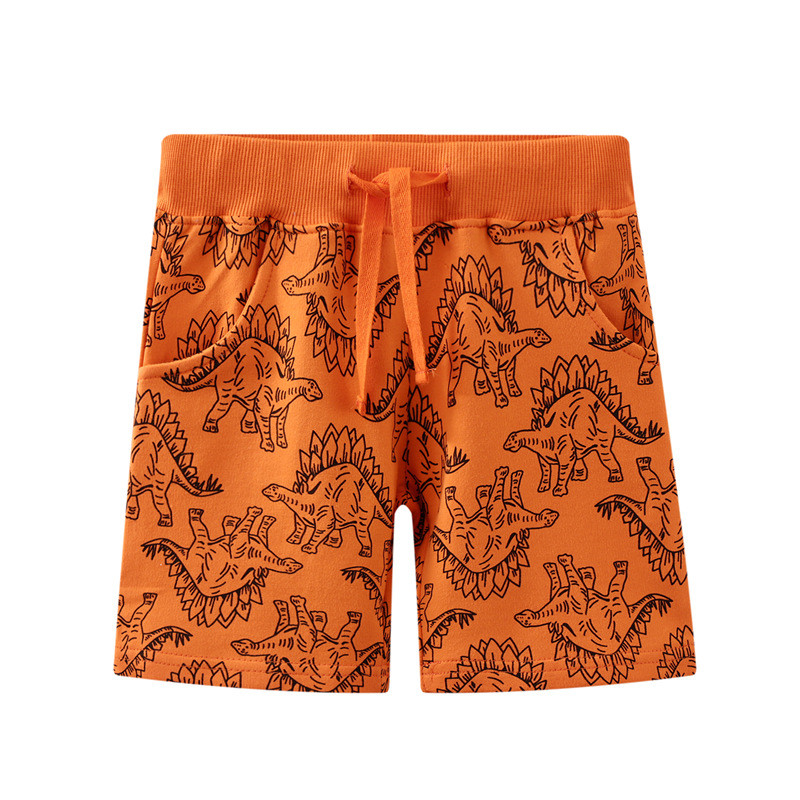 Toddle Kid Boys Yellow Dinosaurs Pattern Cotton Drawstring Shorts
