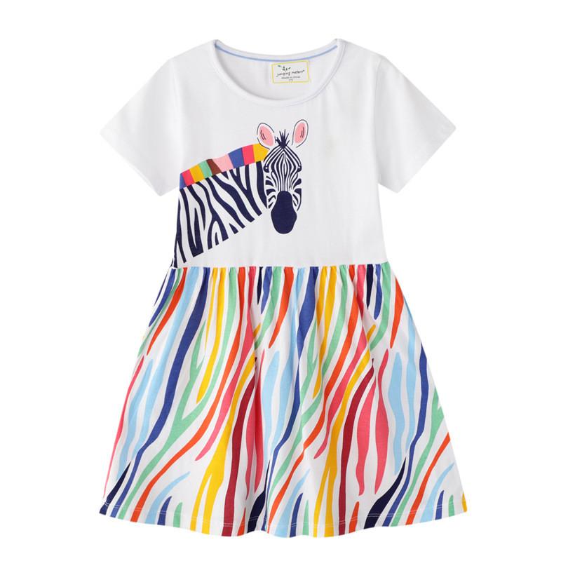 Toddler Girls Rainbow Stripes Zebra Short Sleeves Dresses