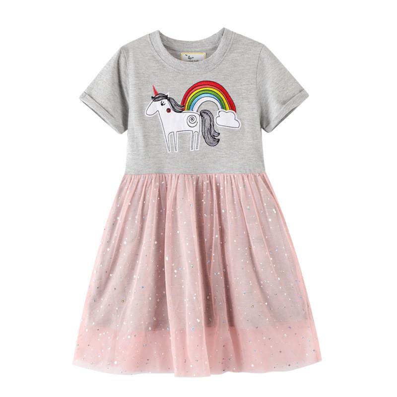 Toddler Girls Embroidery Unicorn Rainbow Short Sleeves Sequins Tutu Dresses