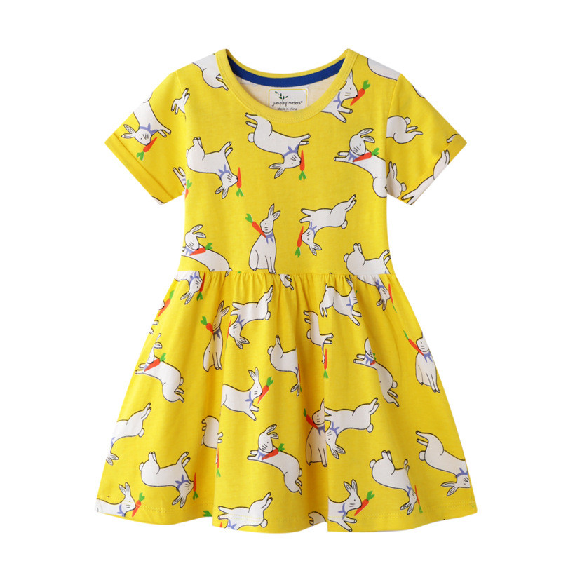 Toddler Girls Print Rabbits Carrots Short Sleeves Cotton Casual A-line Dress