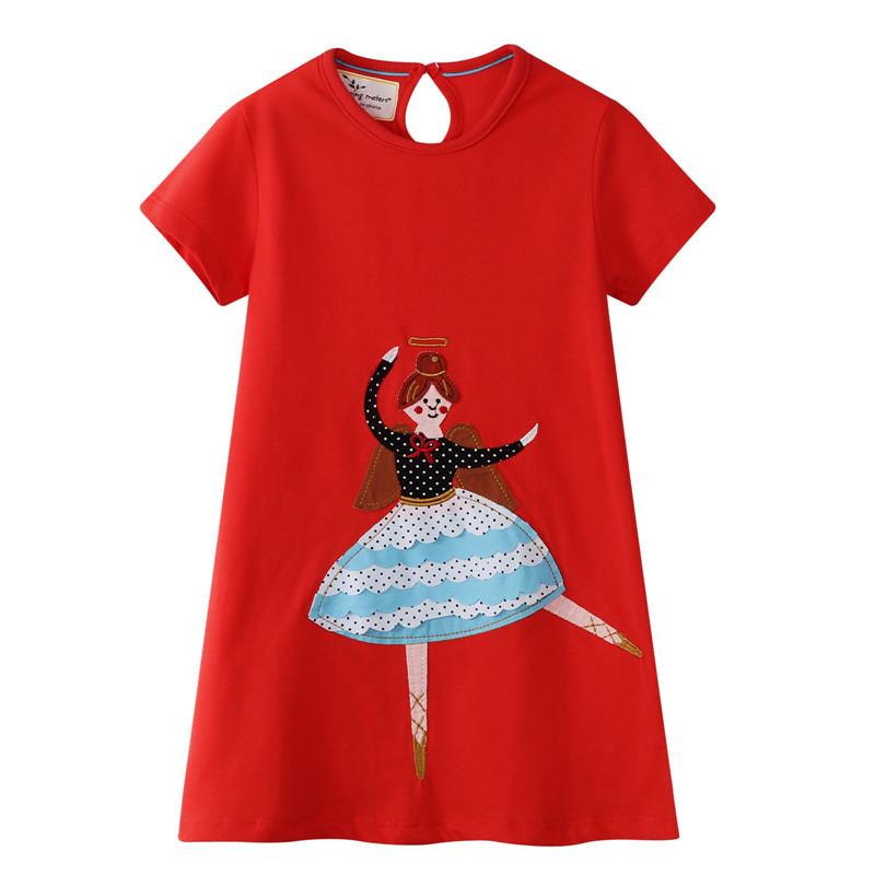 Toddler Girls Print Ballerina Girl Short Sleeves Casual Cotton Dress