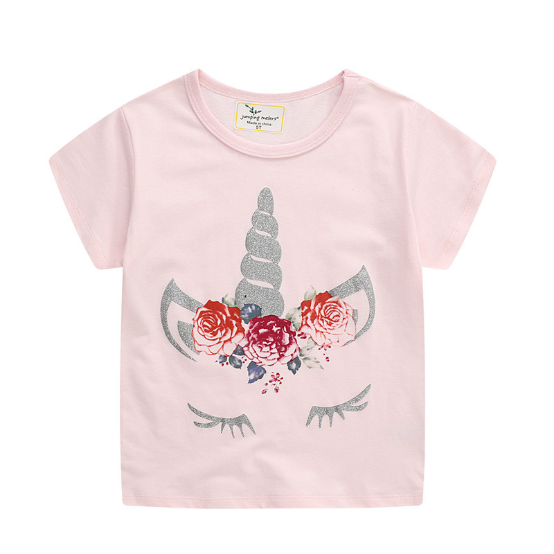 Toddle Girls Print Unicorn Horns Flowers Pink T-shirt