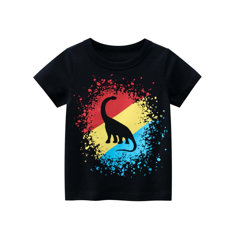 Toddle Kids Boys Print 3 Colors Dinosaur Black Cotton T-shirt
