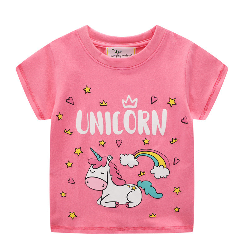 Toddle Girls Unicorn Rainbow Stars Hearts Short Sleeve T-shirt Top