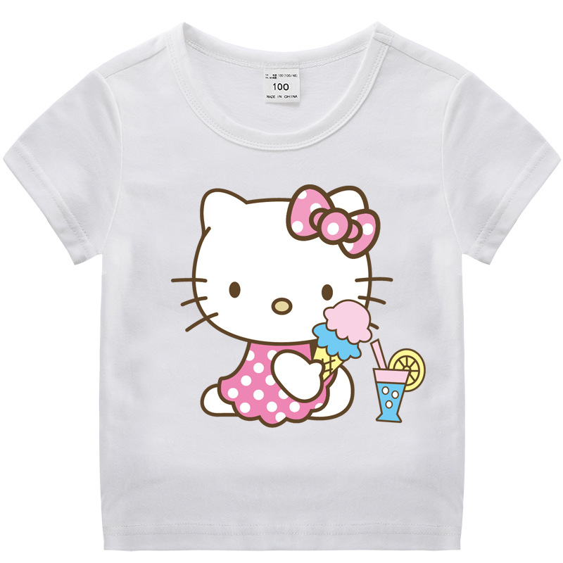 Toddle Kids Girls Hello Kitty Pattern Short Sleeve T-shirt Tops