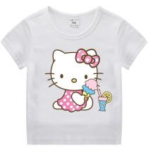 Toddle Kids Girls Hello Kitty Pattern Short Sleeve T-shirt Tops