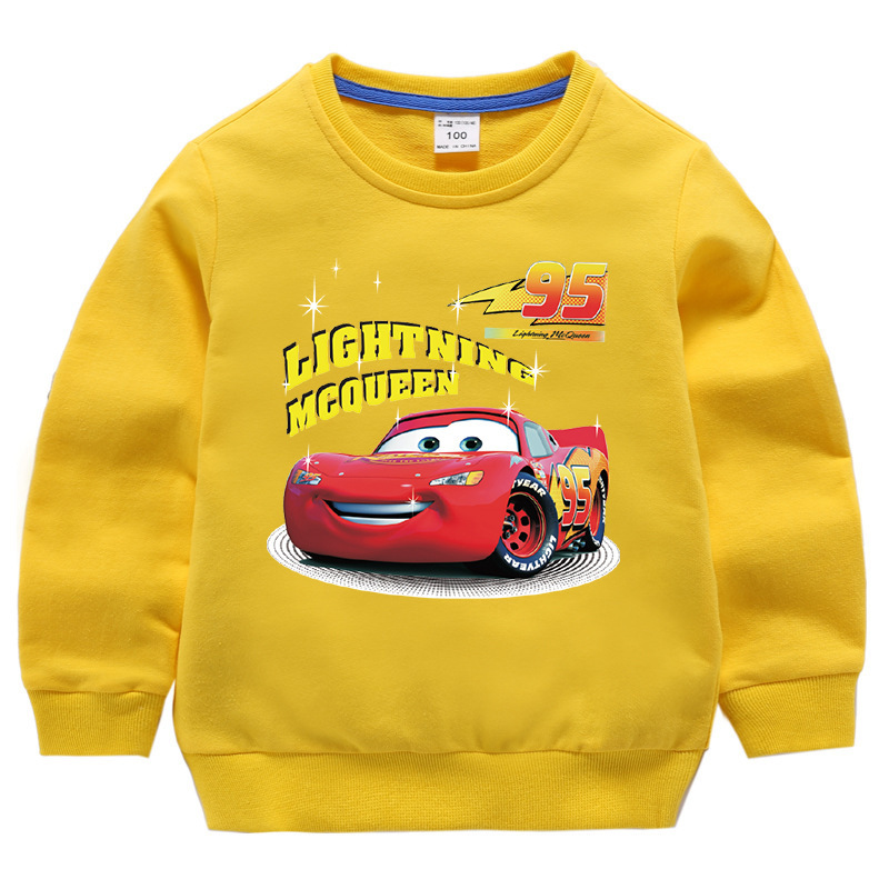 Toddler Kids Boys Cartoon Racing Cars Pullover Cotton Sweatshirt Tops