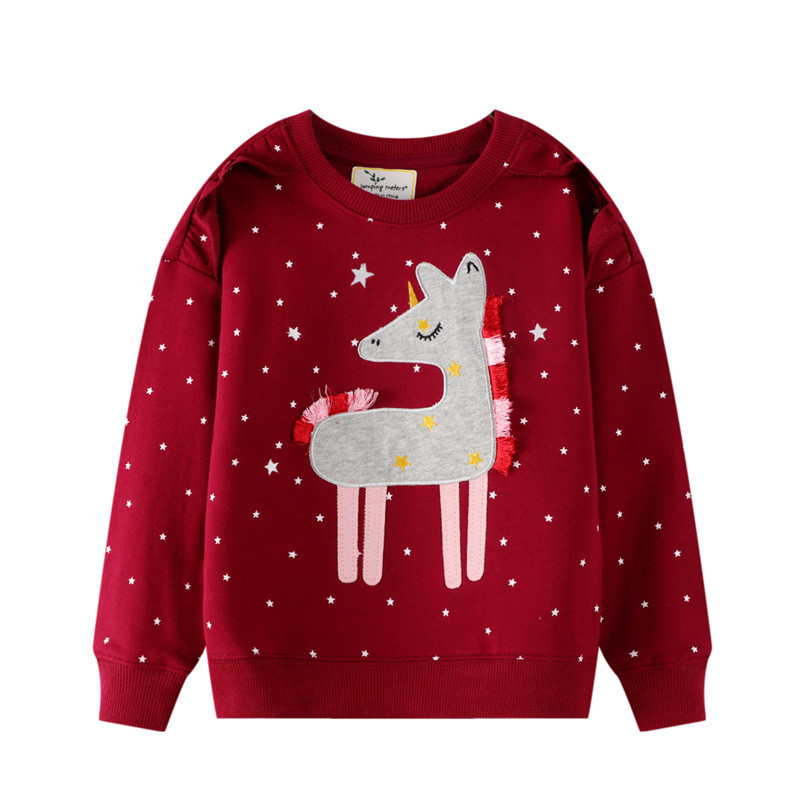 Toddler Kids Girl Grey Tassels Horse White Stars Red Sweatshirt Top