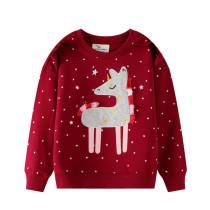 Toddler Kids Girl Grey Tassels Horse White Stars Red Sweatshirt Top