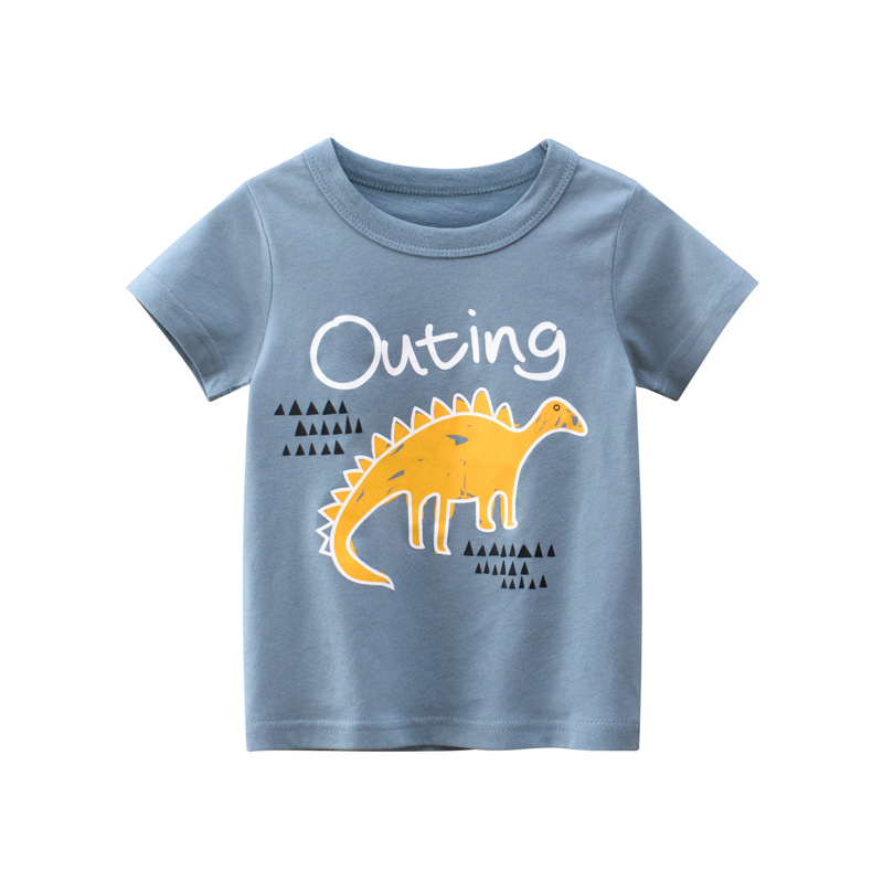 Toddle Boys Print Yellow Dinosaur Blue Cotton T-shirt