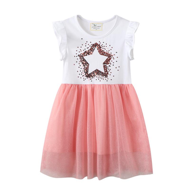 Toddler Girls Glitter Stars Ruffles Short Sleeves Pink Tutu Dresses