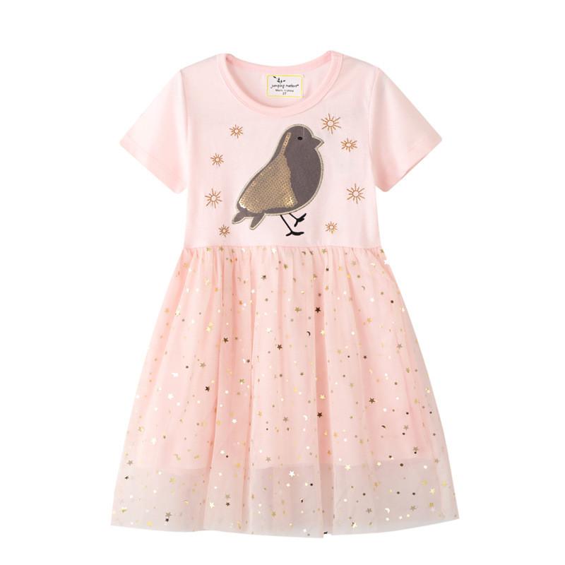 Toddler Girls Embroidery Golded Sequins Birds Stars Short Sleeve Tutu Dresses