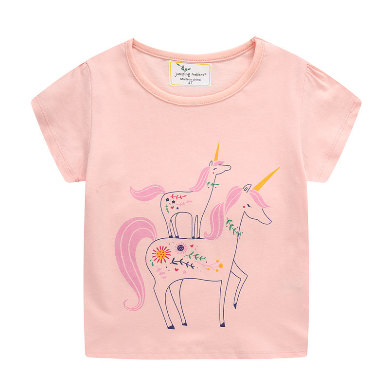 Toddle Girls Unicorn Sun Flower Pattern Short Sleeve T-shirt