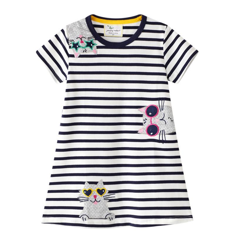 Toddler Girls Black and White Stripes Cats Short Sleeve Dresses
