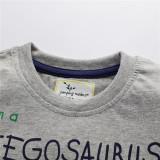 Toddle Kids Boys Print Dinosaurs Cotton Gray T-shirt