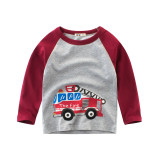 Toddle Kids Boys Print Vehicle Matching Color Cotton Long Sleeve Tee