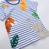 Toddle Kids Boys Print Animals Tiger Giraffe Elephant Blue Stripes Cotton T-shirt