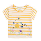 Toddle Girls Embroidery Bees Flowers Yellow and White Stripes Short Sleeves T-shirt