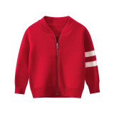 Toddler Kids Girl Knit Cardigan Zipper Pure Color Sweater