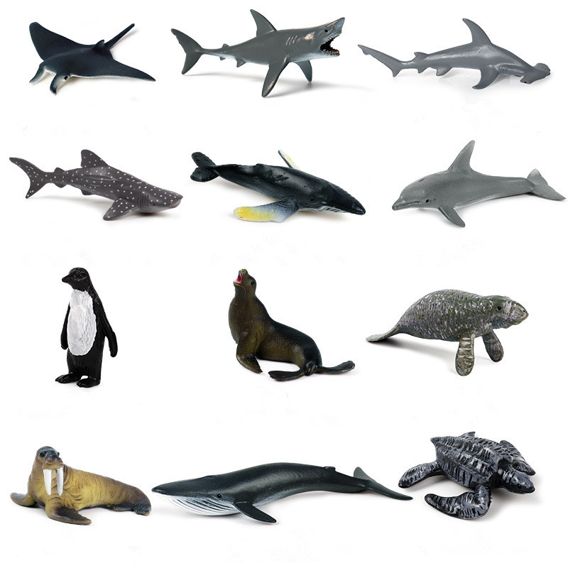 Educational Realistic 12PCS Sea Animals Mini Model Sets Figures Playset Toys