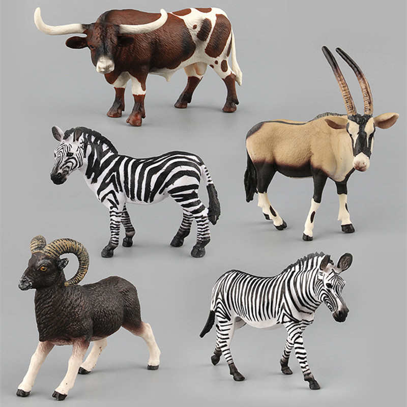 Educational Realistic African Grassland Zebra Antelope Animals Figures Playset Toys