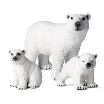 Educational Realistic 3PCS Polar Bear Models Figures Playset Toys