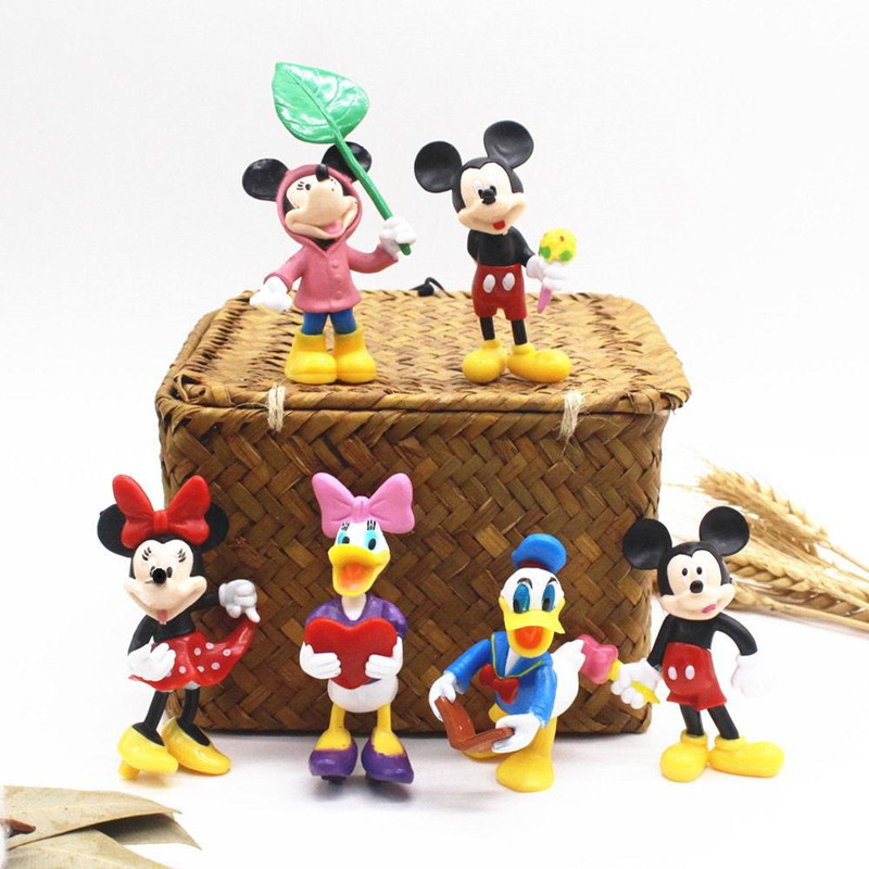 6pcs Mickey Mouse Model Cake Topper Decoration Figures Playset Toys