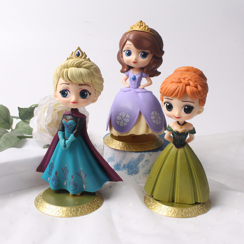 3PCS Frozen Princess Model Cake Topper Decoration Figures Playset Toys
