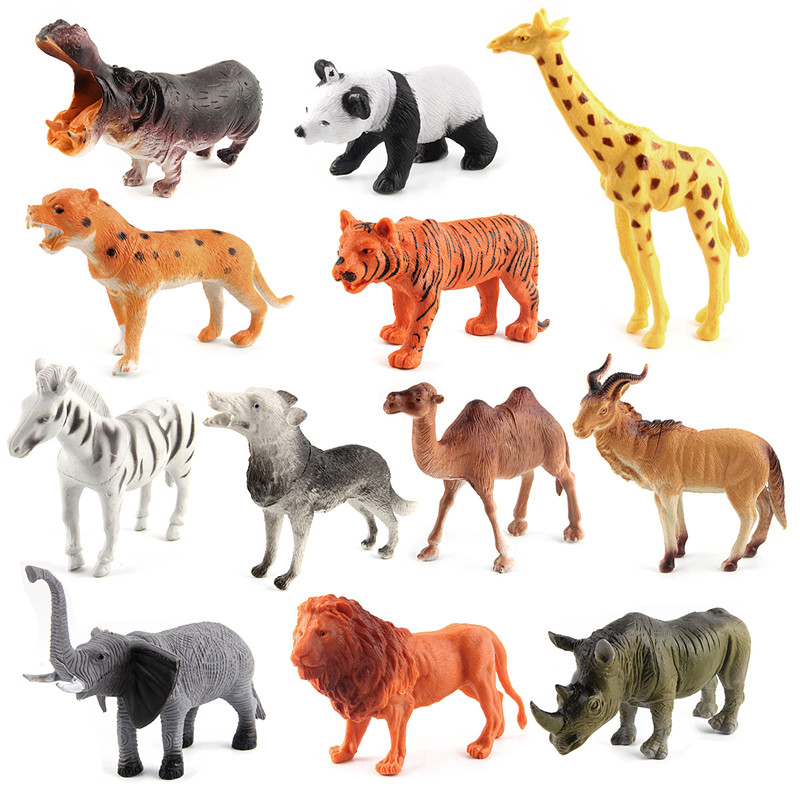 Educational Realistic 12pcs Wild Animals Model Figures Playset Toys