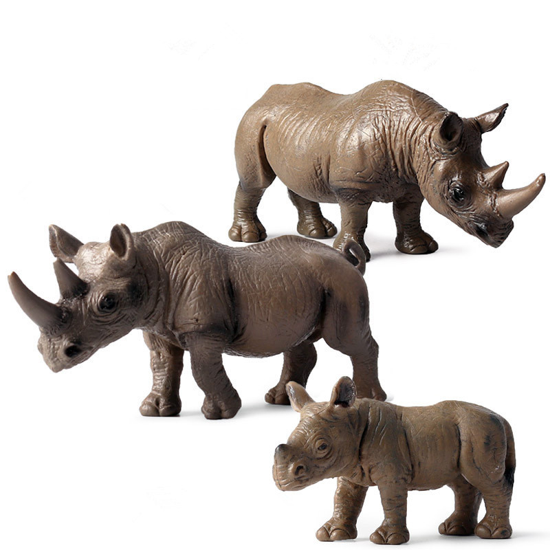 Educational Realistic Rhinoceros Family Wild Animals Figures Playset Toys