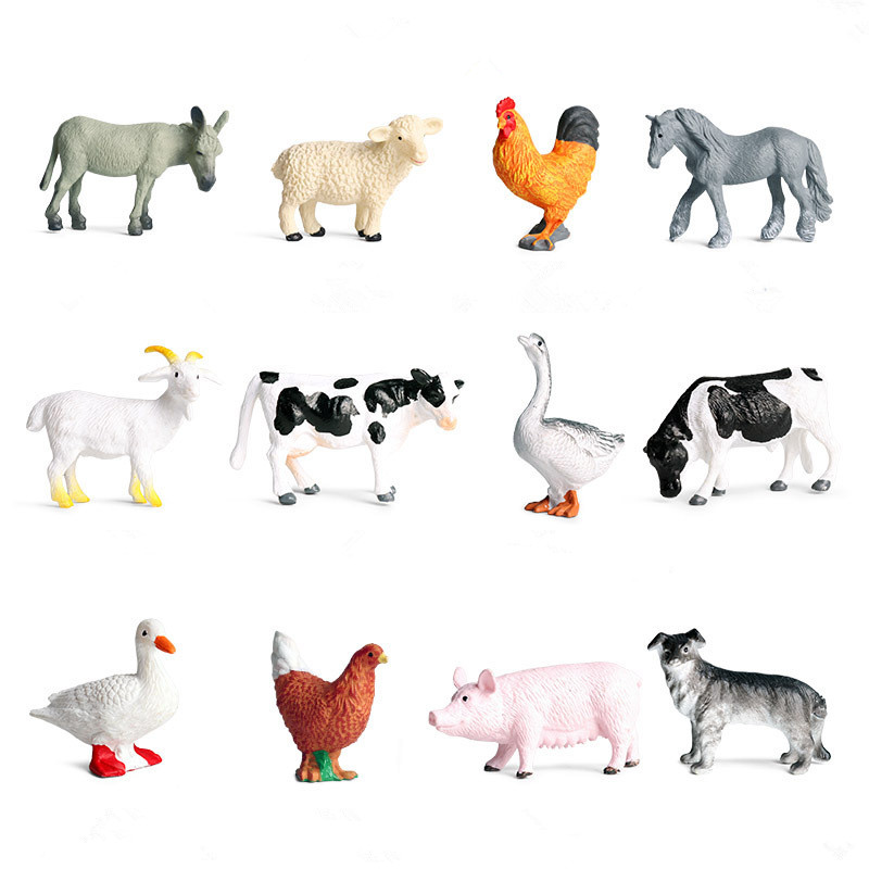 Educational Realistic 12PCS Farm Animals Mini Model Sets Figures Playset Toys