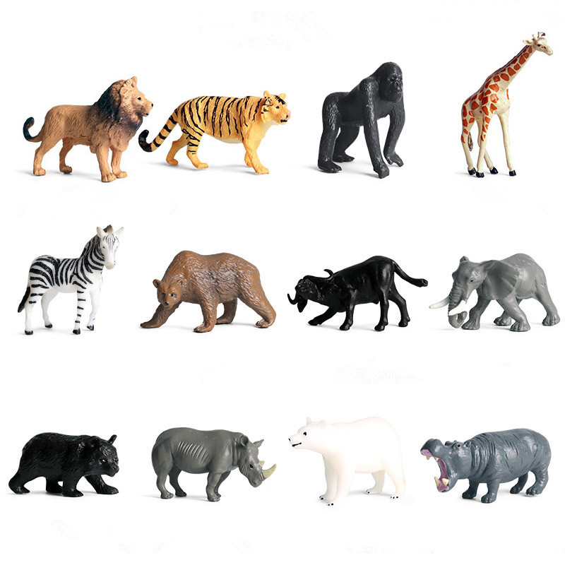 Educational Realistic 12PCS Wild Animals Mini Model Sets Figures Playset Toys