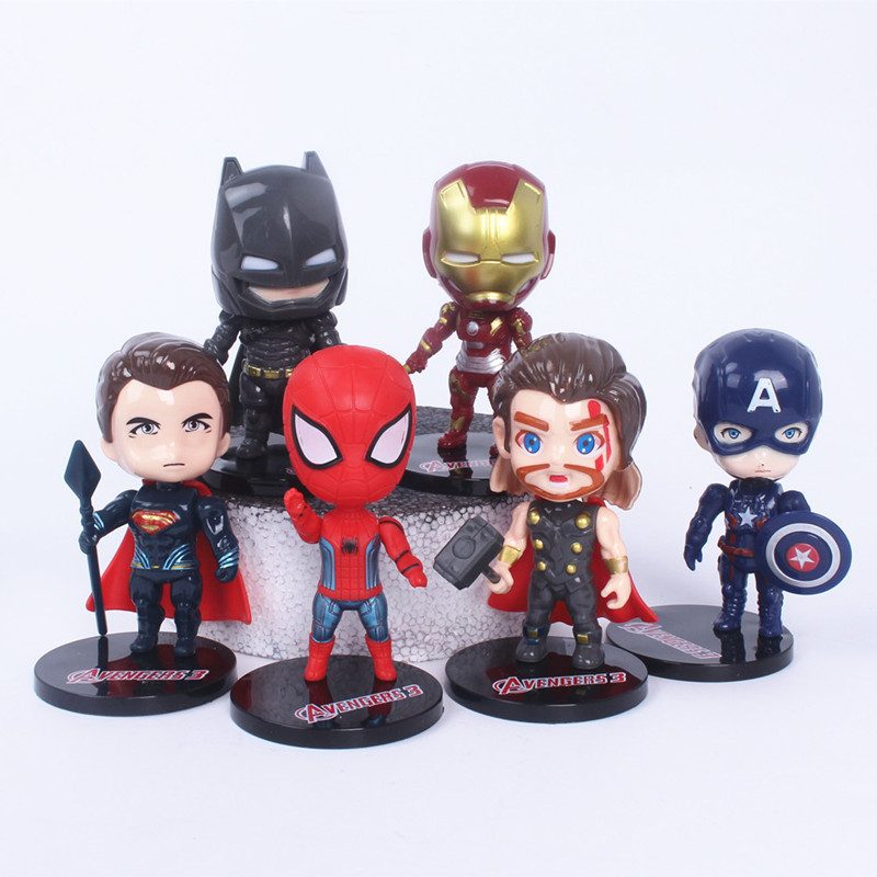 Marvel Hero Model 6pcs Cake Topper Decoration Figures Playset Toys